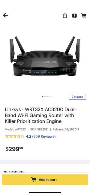 Linksys Dual Band Gaming Router for Sale in Santee, CA