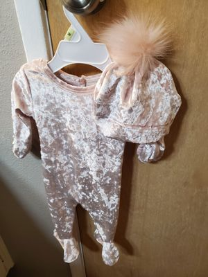 Beautiful never worn pink velour HannaKay baby footie with matching pom pom hat size 3 months for Sale in San Diego, CA