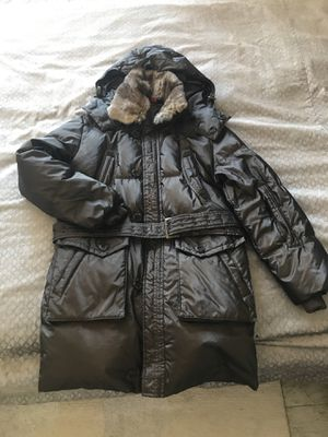 Super stylish Italian designer men's down winter coat with rabbit fur trimming. European size 48. The only defect is with the back side of the collars for Sale for sale  New York, NY