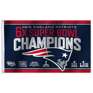 New England Patriots 6 Times Champions Flag Banner New 3x5 Ft F23 for Sale in Waxahachie, TX
