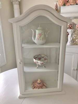 Beautiful vintage shabby chic cottage hanging wall curio cabinet for Sale in Fort Worth, TX