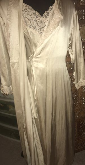 Victoria Secret Ecru Satin 2 piece night gown and robe with lace S for Sale in West McLean, VA