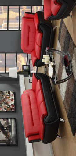 ⭐Enna Red/Black Sofa & Loveseat byGlobal for Sale in Brooklyn Park, MD