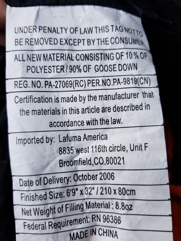 LaFuma Pro 650 Sleeping Bag Like New