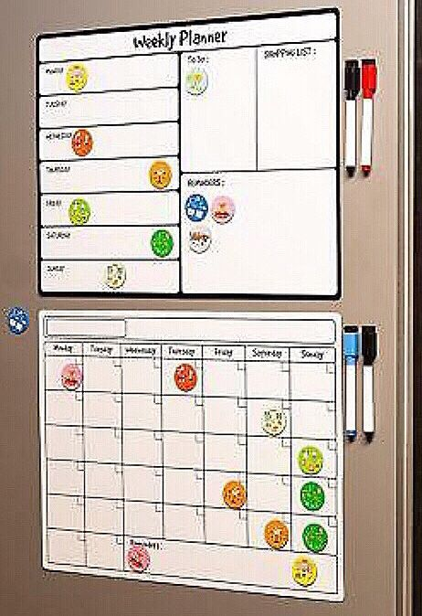New in box 16x12 inches Magnetic Calendar with 20 icons, 4 markers - weekly and monthly kids back to school activity bundle