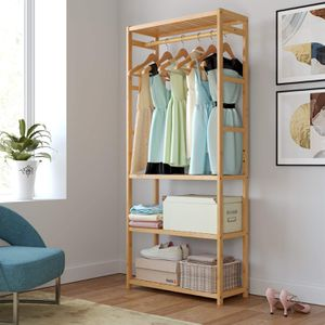 Homfa Bamboo Garment Rack, Multipurpose Clothing Stand Heavy Duty Coat Hanging Rack with 3 Tier Storage Shelves for Clothing Shoes Freestanding Displ for Sale in Ontario, CA