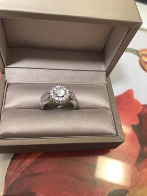 14K White Gold over sterling silver Brilliant white sapphire CZ Promised/Engagement Ring Sz7 for Sale in Itasca, IL