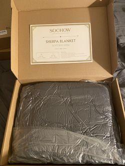 """Sherpa blanket 50"""" x 60"""" color dark grey! for Sale in Perris,  CA"""