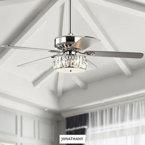 JONATHAN Y Mandy 52 in. Chrome 3-Light Crystal Prism Drum LED Ceiling Fan with Light and Remote for Sale in Dallas, TX