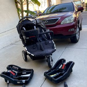 Running Stroller Foldable Double Baby Toddler Stroller Very Good Condition Tike Tek With Base Child Seat for Sale in West Covina, CA
