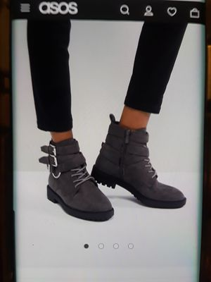 Raid helena - gray multi buckle grunge flat ankle boots for Sale in Compton, CA