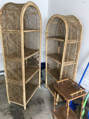 2 Philippine made wicker bookshelves for Sale in MENTOR ON THE, OH