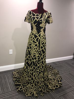 Gold black maxi prom wedding evening dress for Sale in St. Louis, MO
