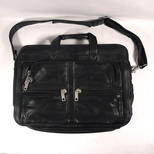 "7x13""x18"" Black Leather Computer Bag Baggage Travel Case Carrier with Strap Luggage for Sale in Mesa, AZ"