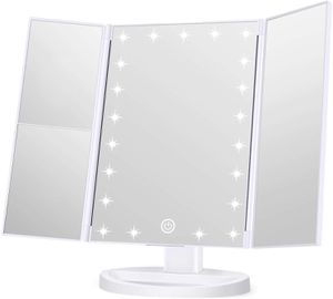 KOOLORBS Makeup 21 LED Vanity Mirror with Lights, 1x 2x 3x Magnify, Touch Screen Switch, 180 Degree Rotation, Portable Trifold, White for Sale in Syosset, NY