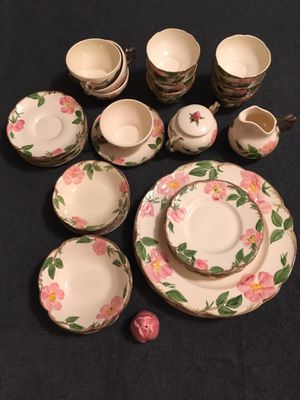 35 piece China set Franciscan desert rose dishwater dishes plates bowls pink pepper for Sale in Aiea, HI