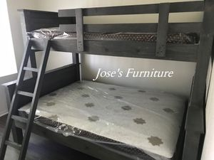 Grey Solid Wood Twin over Full Bunk Bed (Mattresses Included) for Sale in Compton, CA
