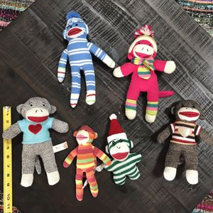 Sock Monkey Plush Lot $7 for all for Sale in Port St. Lucie, FL