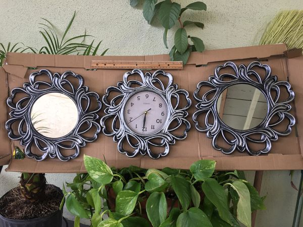 Two mirrors and a wall clock set