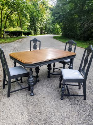 Vintage refinished Victorian/Gothic Dining table and chairs for Sale in Bloomington, IL