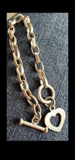 "Sterling Silver Oval Link Heart Cutout Toggle Clasp Bracelet 8"",GUARANTEED STERLING SILVER for Sale in Round Rock, TX"