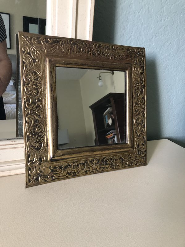 """Vintage / Antique Gold Frame Square Mirror 10.5"""""""