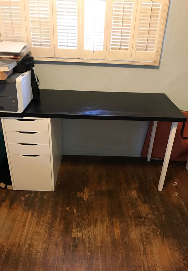 Ikea desk with filing cabinet and drawers