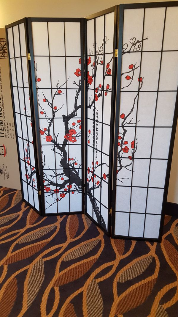 Brand New 4 Panel Room Divider w/Plum Blossom Design