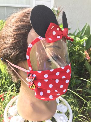 Kids Minnie Mouse Face Shield mask, face mask, handmade. for Sale in Orlando, FL