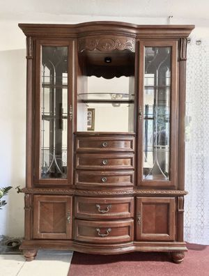 2 Piece Solid Wood China Cabinet With Drawers for Sale in East Palo Alto, CA