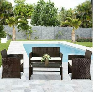 4-Piece Wicker Patio Conversation Set w/Table, Tempered Glass, Cushioned Seats - Brown for Sale in Hidden Hills, CA