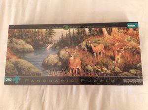 Buffalo Games Panoramic, Deer And Pines - 750pc Jigsaw Puzzle for Sale in Scottsdale, AZ