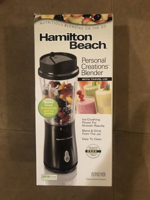 HAMILTON BEACH PERSONAL CREATIONS BLENDER BLEND AND DRINK FROM JAR BRAND NEW NEVER OPENED IN ORIGINAL PACKAGING WITH TRAVEL LID MODEL 51101B for Sale in Fort Lauderdale, FL
