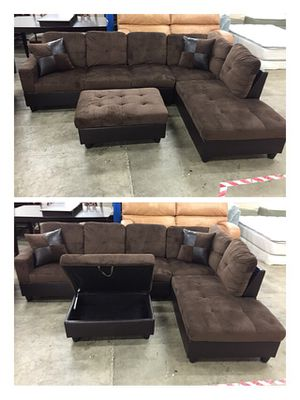 Brown microfiber sectional couch and storage ottoman for Sale in Seattle, WA