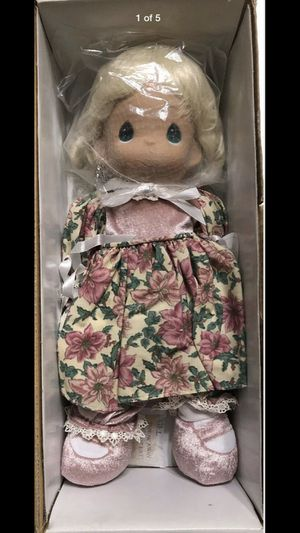 Precious Moments Porcelain The Doll Maker Collectible Doll In Pink Floral Dress for Sale in Pomona, CA