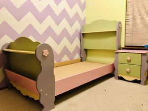 Flower girl TWIN bed with 2 nightstands for Sale in Seattle, WA