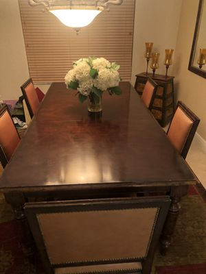 Ralph Lauren dining room table with 6 leather chairs for Sale in Delray Beach, FL