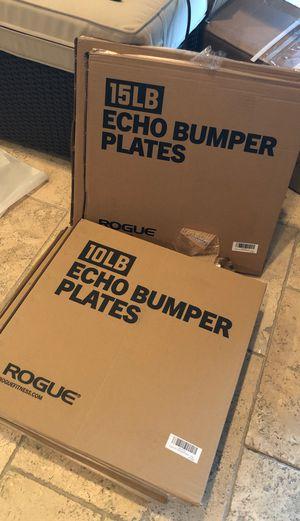Rogue echo v2 bumper plates 10lbs $150 a pair 15 lbs $165 a pair for Sale in Diamond Bar, CA