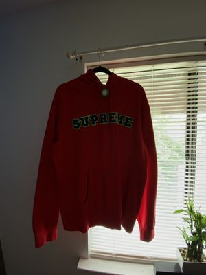 Supreme Cord Collegiate Logo Hooded Sweatshirt Red for Sale in Lakewood Township, NJ