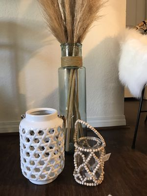Ceramic Lantern Beaded Candle Holder Vase Bohemian Boho Farmhouse Decor Patio Wicker Rattan Wooden Modern Contemporary Urban Style Rustic for Sale in San Diego, CA