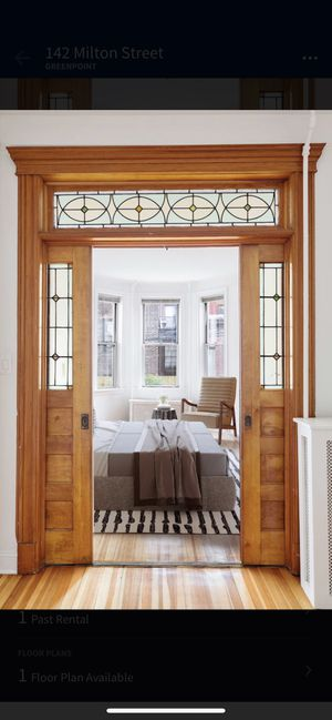 Antique sliding wood door from 1910 with lead glass for Sale in Brooklyn, NY