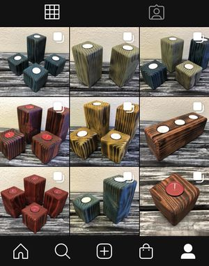 Beautiful Wood / Wooden Candle Holders / Candleholders (Burned and Stained) with Tealights for Sale in Las Vegas, NV