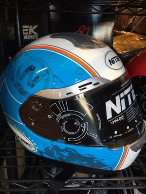New blue and white dot motorcycle helmet $100 for Sale in Whittier, CA