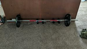 I have Olympic bar bell with curling bar up to 225 pounds in weight looking to get rid of it all 100 obo for Sale in Calcium, NY