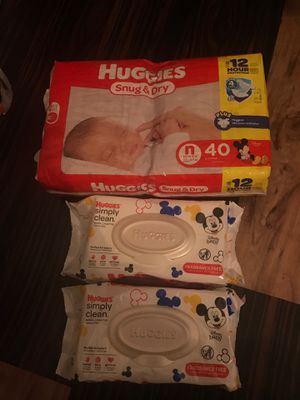 Newborn snug & dry huggies diaper and wipes.... for Sale in Virginia Beach, VA