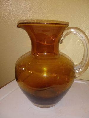 Blenko amber hand blown water pitcher with clear handle for Sale in Tempe, AZ