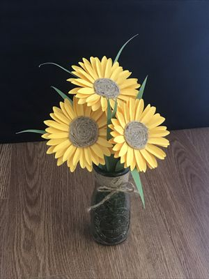 Paper Sunflowers 3pc with vase for Sale in Absecon, NJ