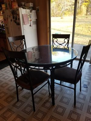 Table with 4 chairs- glass not include for Sale in Rocky Mount, VA