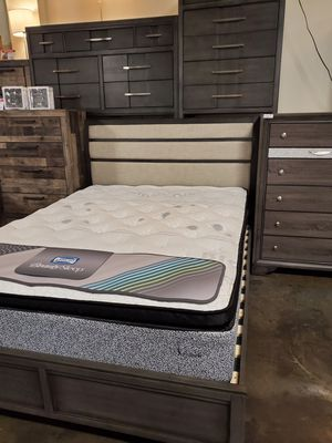 Queen Bed Frame with Upholstered Headboard, Grey for Sale in Santa Ana, CA