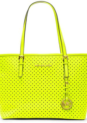 Michael Kors Neon Yellow Perforated Small Jet Set Travel Tote NWOT bag for Sale in Wichita, KS